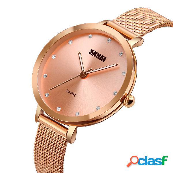 Relógios de pulso de quartzo de cristal casual ultra fino dial aço completo mulheres relógio de pulso para as mulheres