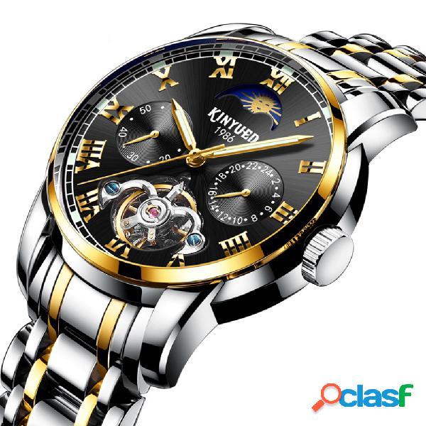 Relógios homens empresariais todo em aço banda relógio automático mecânico relógio de pulso masculino impermeável