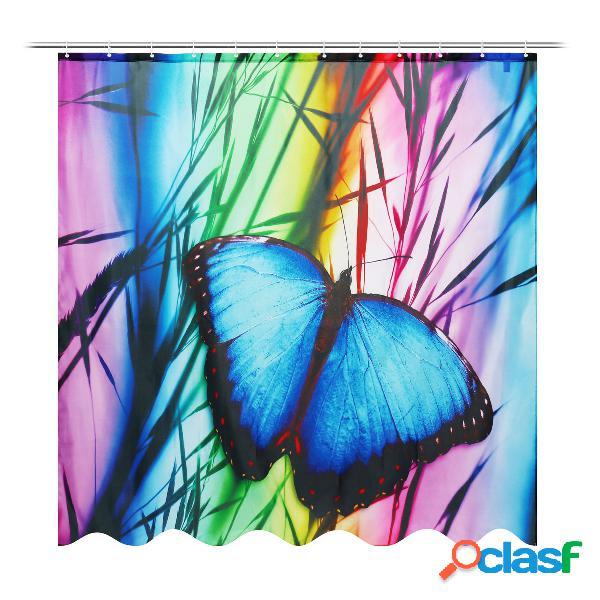 71''x71 '' buterfly banho de banho antiferrugem cortina de chuveiro à prova d 'água com 12 ganchos