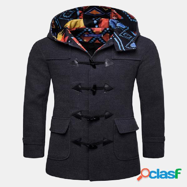 Casaco com capuz de fivela de chifre de homem de comprimento médio slim fit casaco de lã casual