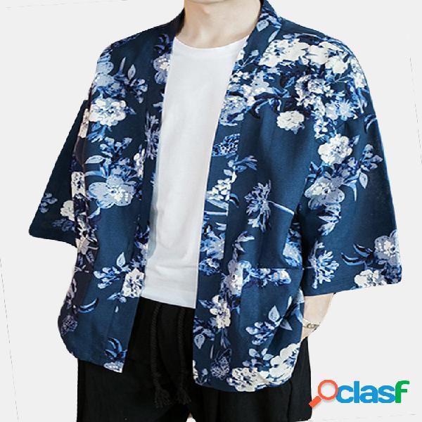 Casaco masculino floral de algodão, linho, quimono cardigã japonês aberto na frente jaqueta jaqueta