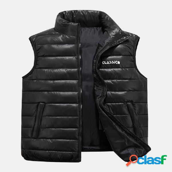 Colete masculino sem mangas engrossar inverno quente com ombro baixo