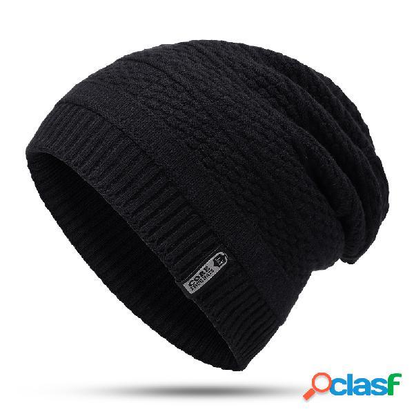 Homens de inverno de moda de lã quente plus veludo de malha chapéu casuais ao ar livre de ciclismo casa de esqui gorro