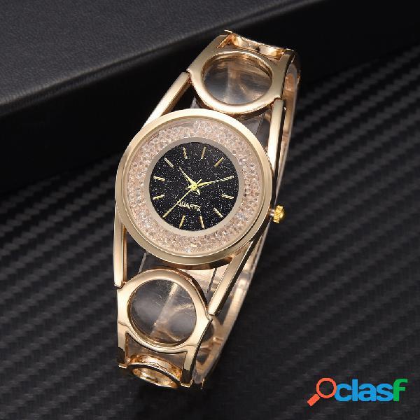 Moda diamante liga relógio estrelado noite de discagem relógio de quartzo ouro preto pulseira relógio de cintura