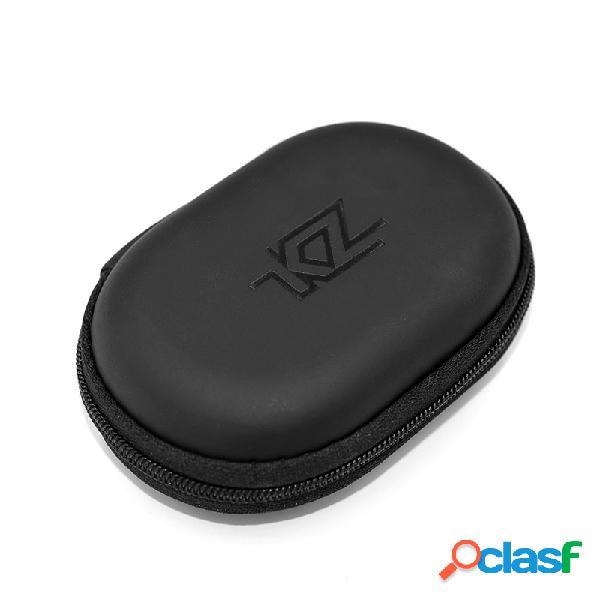 Portátil à prova de choque com zíper fone de ouvido cabo caixa de armazenamento oval pu fone de ouvido