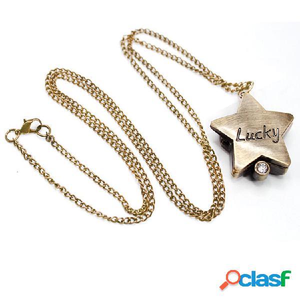 Relógio de bolso de forma de estrela de estilo retrô relógio de bolso de quartzo de palavra de sorte retrô