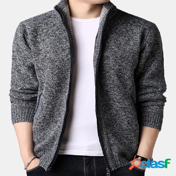 Casaco de inverno masculino casual confortável respirável de lã grossa com zíper