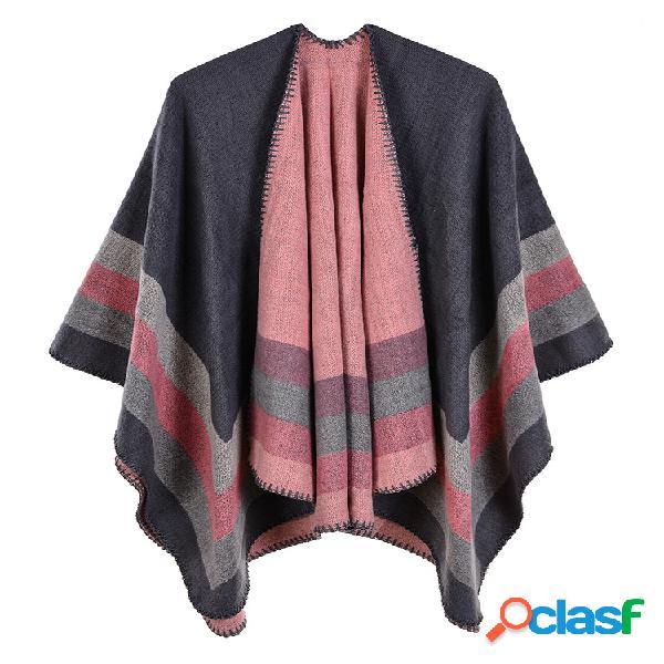 Casaco de lã com estampa listrada casual para mulheres