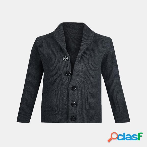Casual thicken knit respirável botões bolsos cardigan de manga comprida para homens