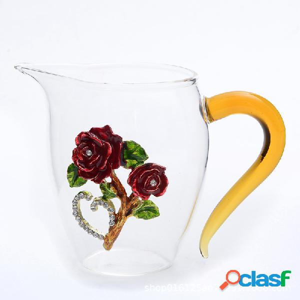 Copo de esmalte transparente para uso doméstico flor de vidro de cristal rose chá cup