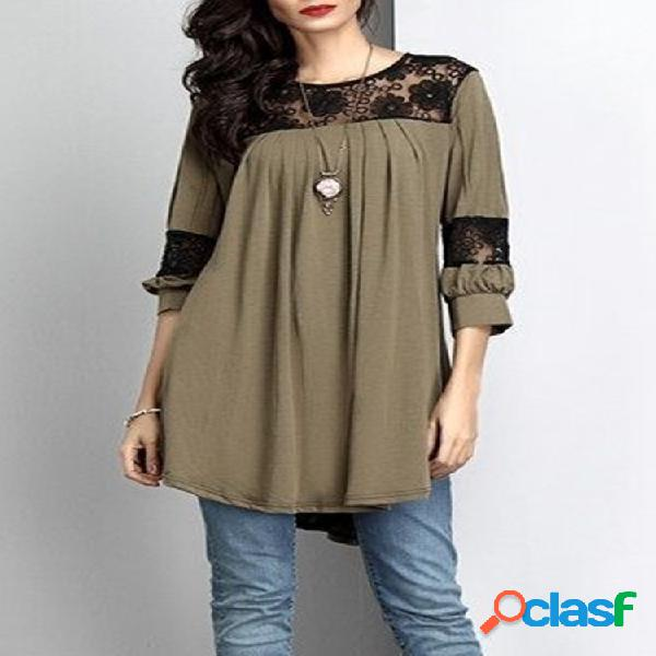 Floral lace patchwork manga comprida casual mulheres blusa