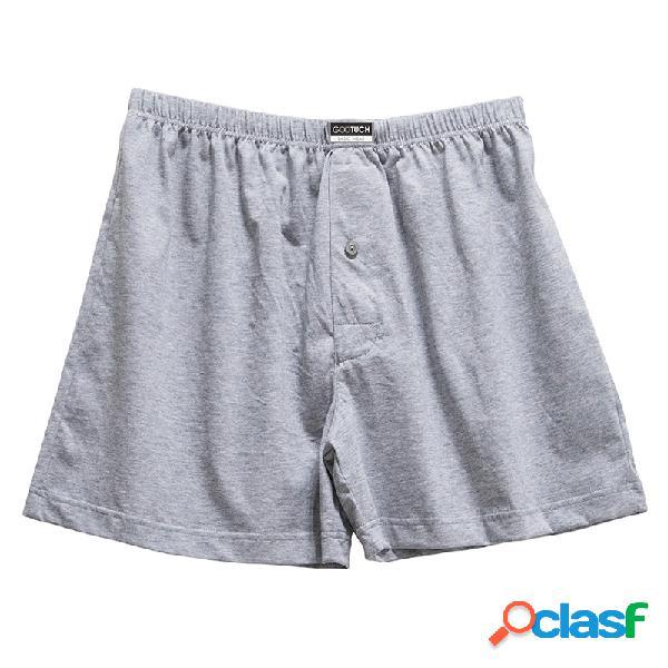 Mens 100% algodão respirável botões bolsa impresso cós sleepwear inferior confortável solto pijama
