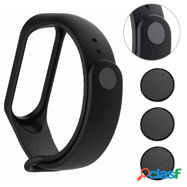 Moda pulseira 3 pcs wacth fecho botão de metal preto em pulseira de relógio para xiaomi mi band3