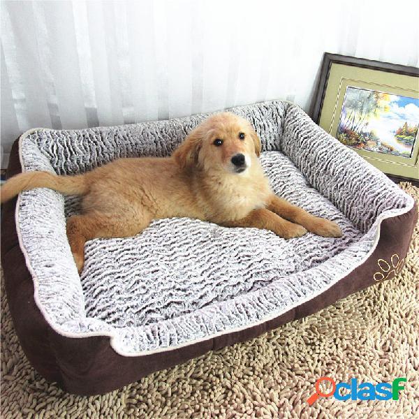 Padrão de onda rosa de veludo pet dog sofa cama grande cão inverno couch cama canil