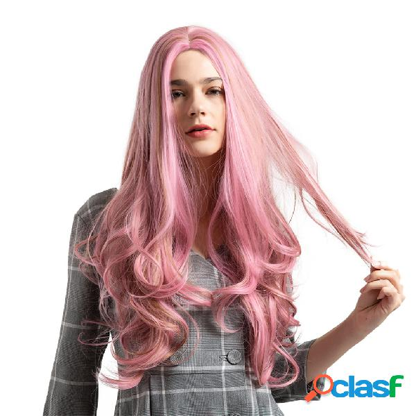 Perucas sintéticas de 26 polegadas de fumaça rosa moda cabelo perucas longas encaracoladas de fibra química de alta temperatura