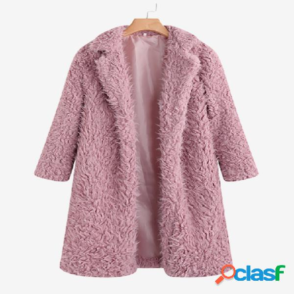 Teddy faux fur cor sólida turn down collar long coat