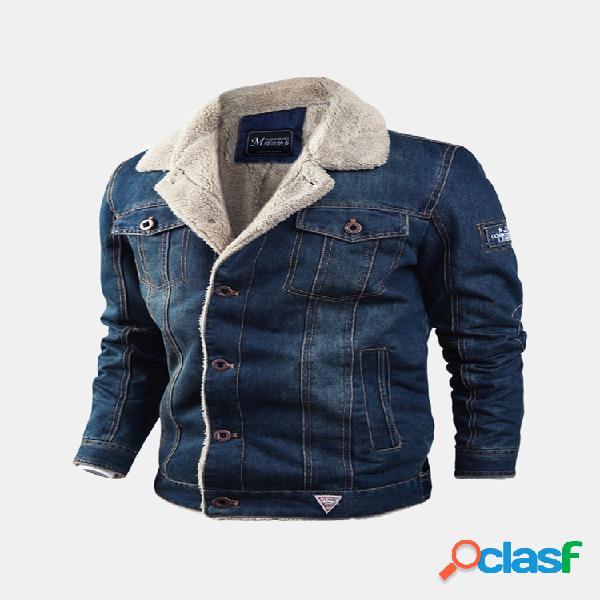 Winter thicken fleece loise turndown collar multi bolsos costura quente casaco