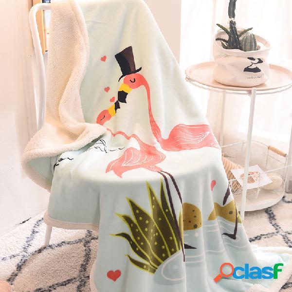 100 * 140 cm flanela shearling espessura cobertor flamingo coruja criança bebê macio quente cobertor de manta