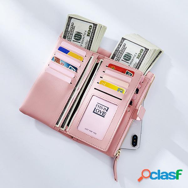 Carteira feminina de couro pu 22 com slot para cartão casual bolsa sólida para telefone