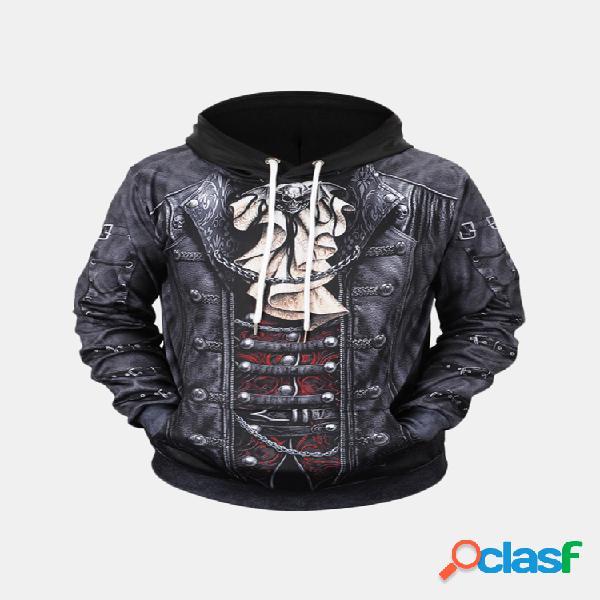 Digital 3d impressão hoodies com cordão confortável casual respirável plus tamanho solto camisola para homens