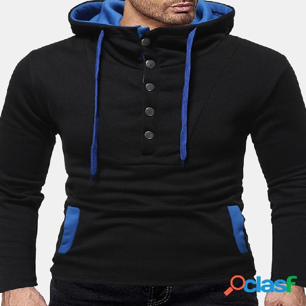 Esporte masculina casual chic hit color botões decoração big pockets moletom com capuz