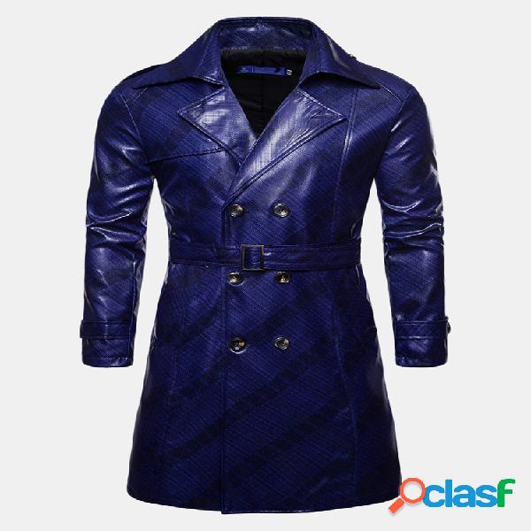Homens impresso trespassado lapela colar de couro trench coat mid-long jacket