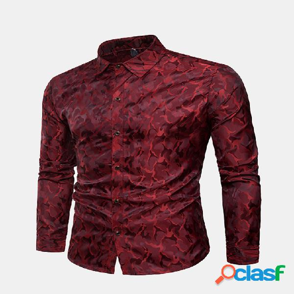 Mens camo brilhante impressão camisa manga comprida single-breasted boate estágio camisa