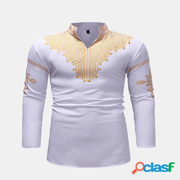 Mens national style printing mid long loose fit manga comprida casual t shirt