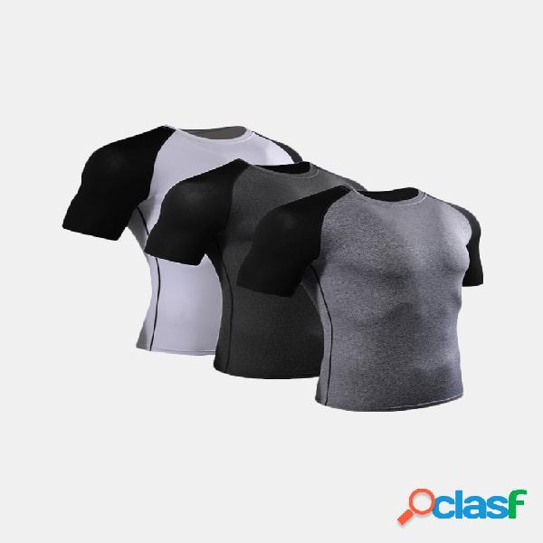 Mens t-shirt de manga curta justa aptidão t-shirt elástica de secagem rápida para desporto