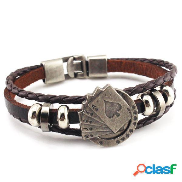Pulseira pulseira de onda de couro do vintage pulseira multicamadas cartão multicamadas pulseira bohemian jóias para homens