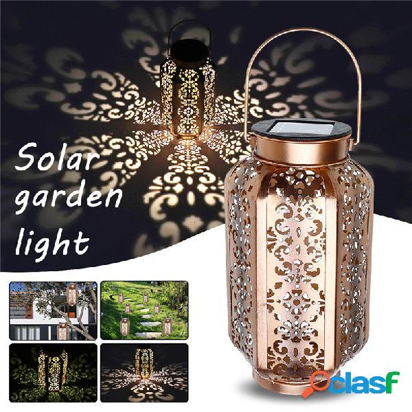 Solar powered vintage metal led lâmpada lanterna jardim ao ar livre paisagem yard lâmpada