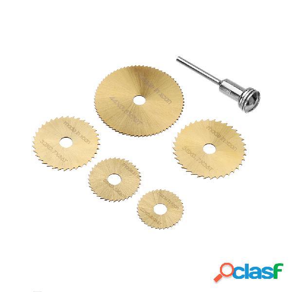 Drillpro sw-b2 6 pcs hss lâminas de serra circular set titanium revestido lâmina de serra para ferramentas dremel rotary