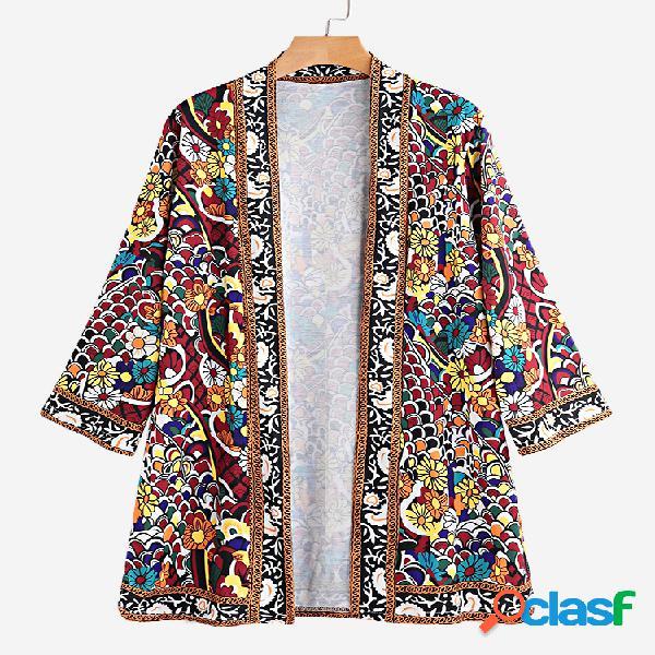 Estampa floral dividida 3/4 manga fina casaco para mulheres