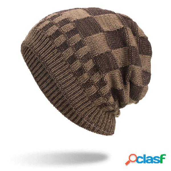 Homens quadrados malha de lã de veludo de malha chapéu quente bom elástico chapéu de inverno ao ar livre ocasional gorro