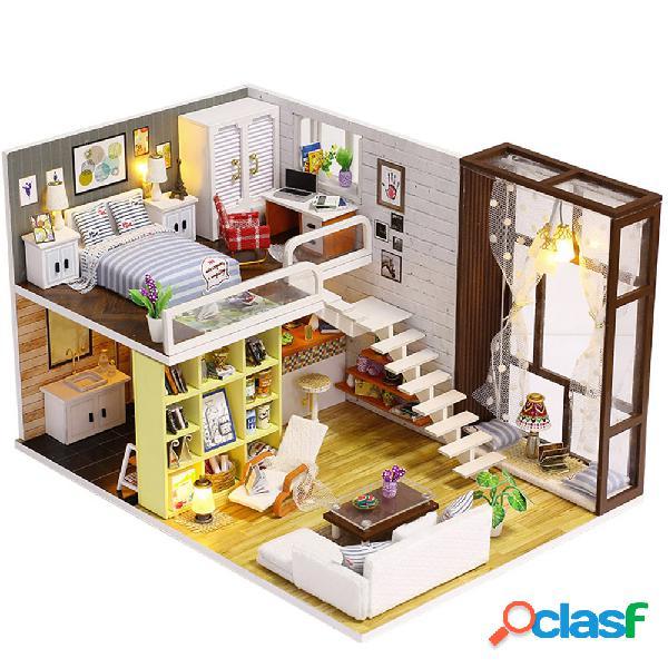 Iiecreate k-028 cidade contratada casa de boneca diy com mobiliário de luz de presente de brinquedo capa