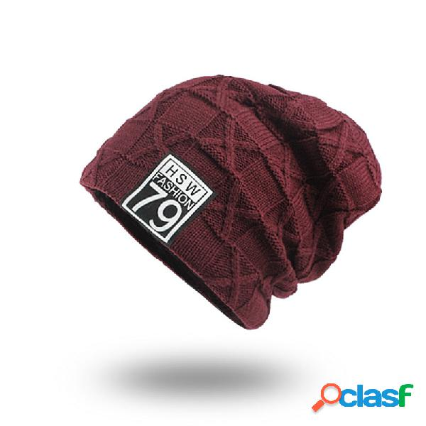 Lona de veludo de lã dos homens de malha chapéu quente bom elástico chapéu inverno ao ar livre casual gorro