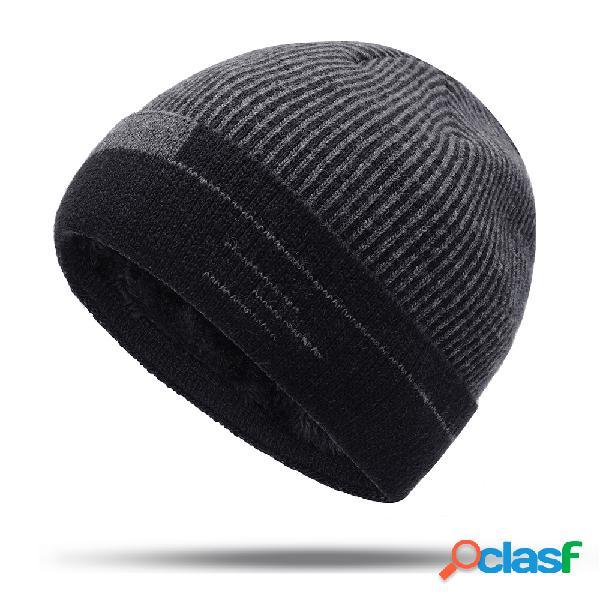Mens de lã grossa de veludo de malha chapéu inverno quente à prova de vento ao ar livre ocasional neve gorro