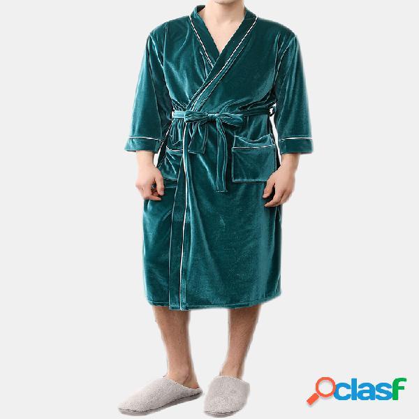 Mens tricô de veludo liso velo aquecedor cintura soft pijamas pijamas sono solto pijamas