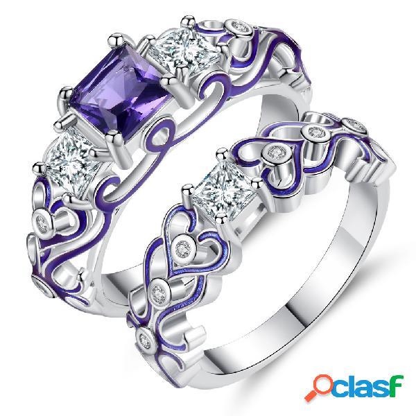 Moda 2 peças de anéis decorativos padrão oco coração anel de zircão jóias acessórios para as mulheres