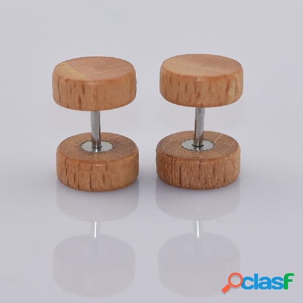 Moda ear stud brincos rodada geométrica dumbbell woods brincos acessórios jóias para as mulheres