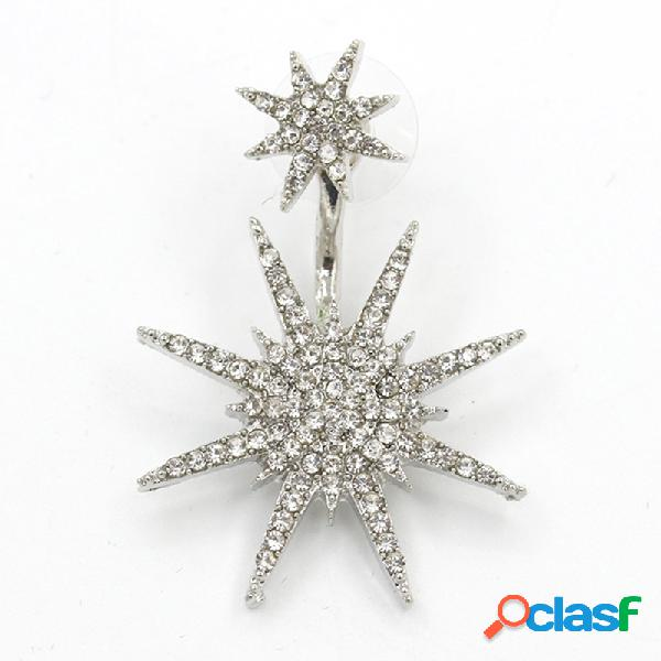 Moda orelha gota brincos 1 pc strass floco de neve oscila brincos acessórios de jóias para as mulheres