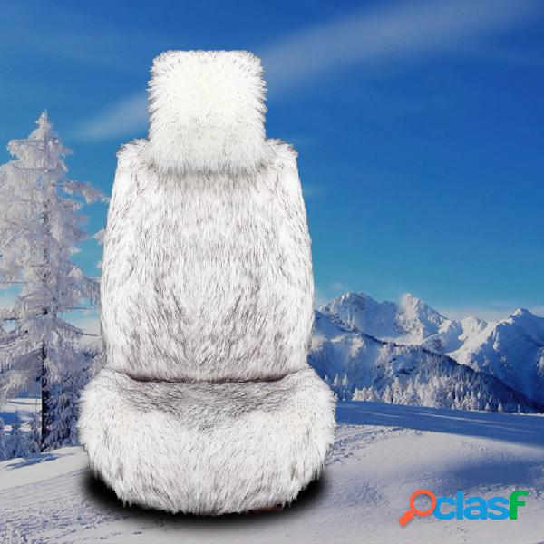 Universal sizer longo plush car seat cover inverno macio quente almofada do assento de carro tapete