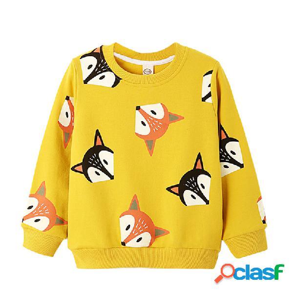 Animal print girls camisola de manga comprida para 3y-11y