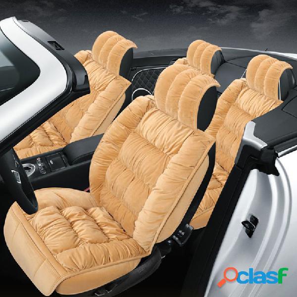 Capa de assento de carro de pelúcia de tamanho universal definida para carro de 5 lugares soft almofada do assento dianteiro do carro