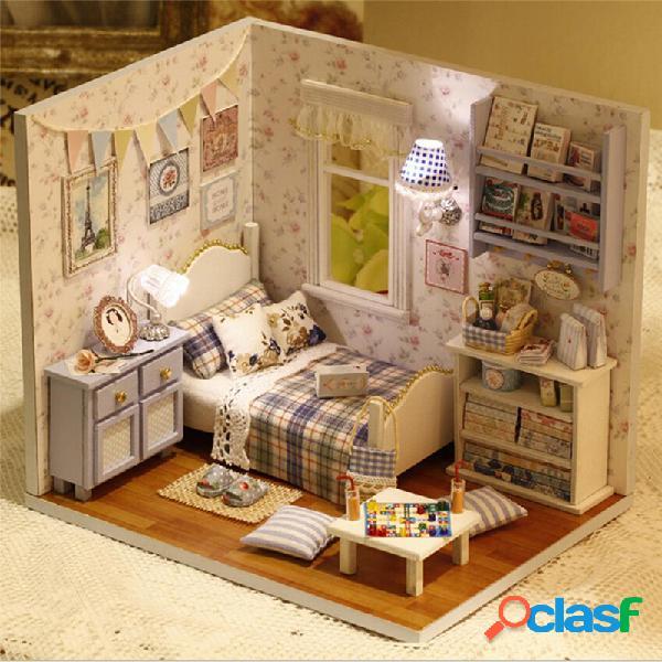 Casa de bonecas de madeira calma de cuteroom diy da casa de boneca 3d diminuta feito a mão