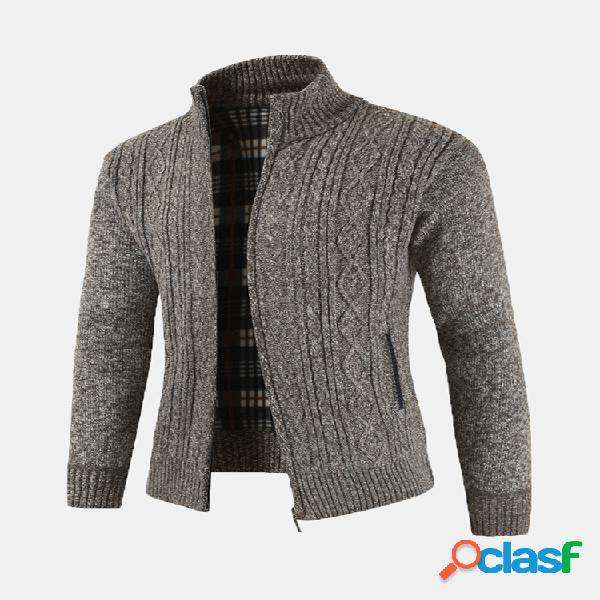 Mens casual thicken knit respirável stand collar zipper bolsos cardigan quente