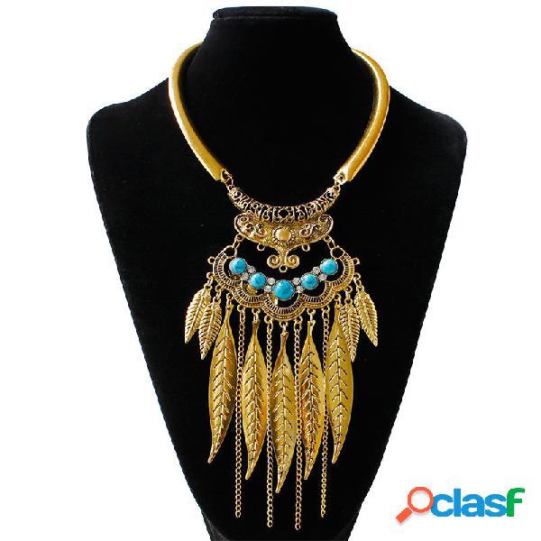 Vintage declaração colar turquesa deixa cadeias borlas pingente de colar de jóias étnicas para as mulheres