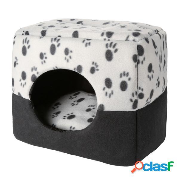 2 em 1 casa macia morna do inverno do gato do cão do canil da cama do sono do animal de estimação do teste padrão da pata
