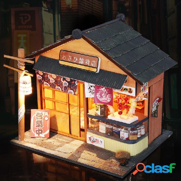 Casa de bonecas de madeira do mantimento de diy com mobília da tampa do diodo emissor de luz