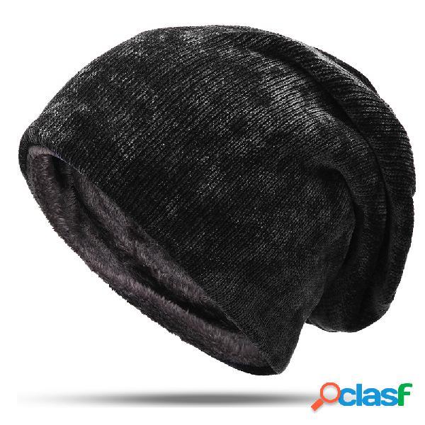Mens cor sólida de lã plus veludo malha chapéu inverno quente ao ar livre de esqui de viagem gorro
